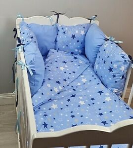 8 pc cot /cot bed bedding sets nursery  PILLOW BUMPER + CASES blue navy stars