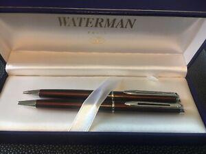 Waterman Hemisphere Metallic Cognac Ballpoint Pen & 0.5mm Pencil Set In Box