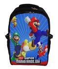 "New 16"" Laptop Backpack School Book Bag Super Mario Bros Wii YOSHI LUIGI TOAD"