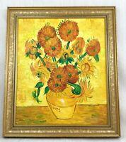Original Impressionist Malerei after Van Gogh Sonnenblumen Groß Gerahmt Leinen