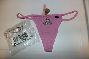 Victoria Secret Pink Cotton thong Panty XL Neon Bubble With flower Embroidery
