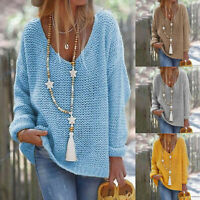 Women Long Sleeve V Neck Loose Knitted Sweater Casual Jumper Pullover Tops Shirt
