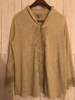 J. Jill Womens Button Down Shirt Size Large Paisley Gray Long Sleeves Cotton