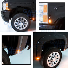 07-13 Chevy Silverado Gloss Black Front+Rear Fender Flares+8x LED Side Makers