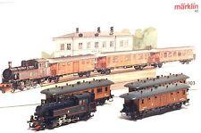 28703 MARKLIN HO SJ Swedish Train set Steam loco real wooden cars w/lights