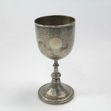 Antique 19th century Anglo Indian silver goblet cup engraved flowers