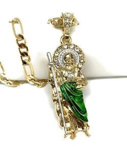 "San Judas Tadeo Medalla Gold P Saint Jude Pendant Necklace 26"" Cadena Oro Lamina"