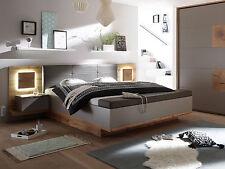 CAMERON Bettanlage Bett Doppelbett 180x200 Dekor Eiche Grau inkl Sitztruhe Licht