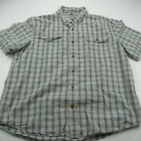 Carhartt Mens Short Sleeve Button Front Blue Checks Shirt 2XL Relaxed Fit Work