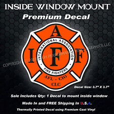 IAFF Firefighter Inside Window Mount Decal Orange Black White 3.7 Inches 0268