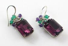 Vintage Amethyst Glass Earrings Purple and Green Onyx Gemstone Cluster