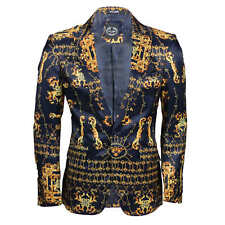 Mens Navy Gold Retro Print Slim Fit Blazer Designer Style Smart Casual Jacket