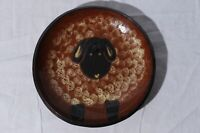 Eldreth Signed 2003 Redware Pottery Serving Bowl Sheep 11.75""
