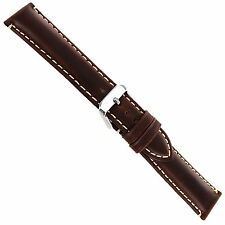 20mm Hadley Roma Brown Oil-Tan Heavy Pad Leather Contrast Stitch Watch Band 885