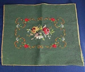 Wool Floral Design Finished Needlepoint Canvas 14x17 4 Seat Cover,Wall Hanging