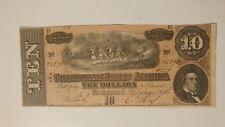 Authentic 1864 Hand Signed Richmond February 17th $10 Confederate Bill VF
