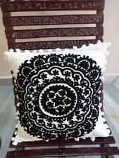 Vintage Suzani Embroidered Cushion Cover Black & White Decorative Pillow Case