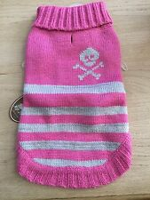 NWT HIP Doggie Dog Skull Stripes turtleneck Size M Charcoal Grey Pink Pet