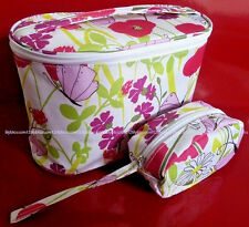 3x CLINIQUE 2 PIECE  FLORAL SPRING MAKE UP COSMETIC BAG SET