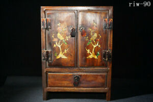 """10"""" China Hand carving Rosewood set shell Flower and bird pattern Small cupboard"""