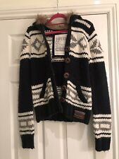 superdry Navy, White, Grey Chunky Button Up Size Medium With Faux Fur Hood