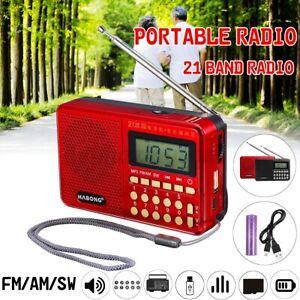 Mini SW AM FM Radio Portable Antenna 21 Band Earphones MP3 Player TF / USB &&