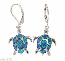SILVER 925 HAWAIIAN INLAY OPAL SEA TURTLE HONU LEVERBACK EARRINGS MEDIUM