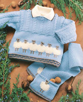 Baby Sheep Motif Sweater Jacket Scarf and Hat 0 - 2 years DK Knitting Pattern