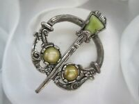 Vintage Signed Miracle Silver Tone Penannular Agate Glass Celtic Brooch Kilt Pin