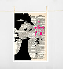 TYPOGRAPHY ART PRINT ON PAPER SIZE A4 AUDREY HEPBURN I BELIEVE IN PINK