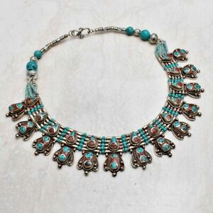 Tibetan Turquoise Coral Handmade Big Necklace Jewelry 153 Gms LBN 5250