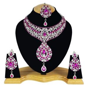 Zerconia Designer Wedding Bridal SIlver Plated AD Necklace Earrings Tikka Set 6
