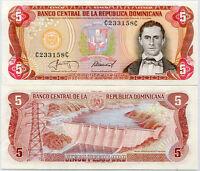 DOMINICAN REPUBLIC 5 PESO 1987 P 118 UNC