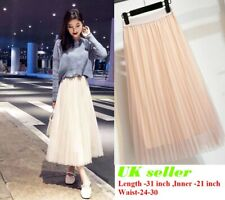 Womens Pleated mesh Skirt Elastic Waist Holiday Evening Party Long Midi Dress