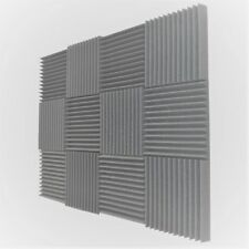 "12 pcs 12""x12""x1"" Acoustic Foam Gray Panel Tiles Wall Record Studio Sound Proof"