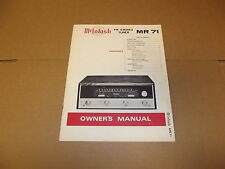 McIntosh MR 71 Tuner Original Operating Instructions Owners Manual