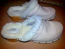 UGG CLOGS MULES Studded Wooden FUR 7 Women shoes slippers shearling Vintage