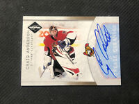 2011-12 PANINI LIMITED CRAIG ANDERSON CREASE CLEANERS AUTO #ed 62/99