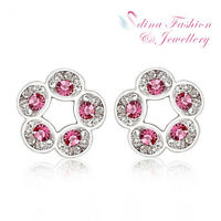 18K White Gold GF Made With Swarovski Element Hollow-out Round Stud Earrings