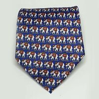"Thailand Men Dress Silk Tie 58"" long 4"" wide Elephants Print Blue"