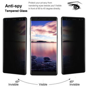 Privacy Screen Protector For Samsung Galaxy S8 S9 S10 Anti-Spy 9H Tempered Glass
