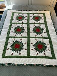 """Handmade Holiday Christmas Quilt Throw Green Star Floral Patchwork 62x59"""""""