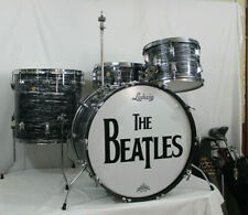 Vintage 1967 LUDWIG BLACK OYSTER PEARL DRUM KIT. 14x22,9x13,16x16, 5.5x14  3ply