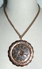 VTG Matisse RENOIR Signed RARE Floral Medallion Pendant Necklace