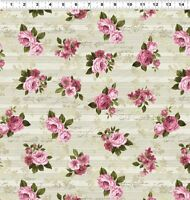 Love Song - Khaki - Pink Roses - Cotton Fabric - Clothworks