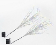 New Bethlehem Lights Set of 2 Glitter Sprigs w/ LEDS - Silver & Changing Colors