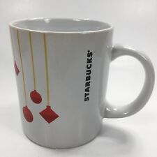 Starbucks 10.8 oz Christmas Coffee Mug Cup White w Red Ornament Mug Gold Strands