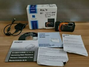 Olympus Stylus Tough TG-860 16.0MP Digital Camera - Orange W/ Box, Disc Inserts