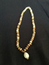 Stone beaded necklace brown green orange 38 grams 18.5 inches