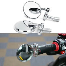 """Chrome Universal Motorcycle 3"""" Round 7/8"""" Handle Bar End Rearview Side Mirrors"""